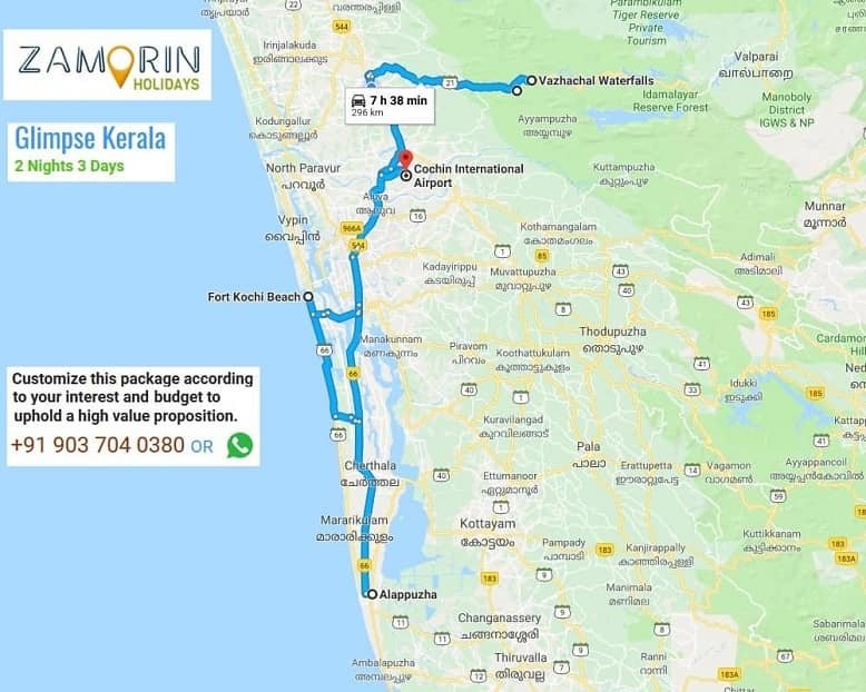 Kerala tourist places map with distance